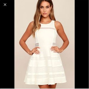 EUC beautiful white skater dress with cut out back
